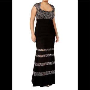 Formal Dress Plus Size 14W Black Mermaid Lace NEW